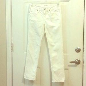 ANN TAYLOR White Stretch Modern Crop Jeans